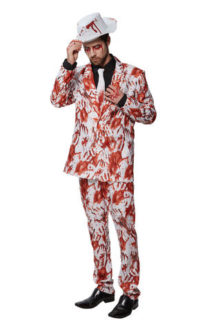 Mens Adult Bloody Suit Fancy Dress Costume Outfit Zombie Halloween Gangster