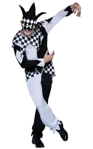 Mens Adult Masked Jester Clown Fancy Dress Costume Outfit Scary Halloween