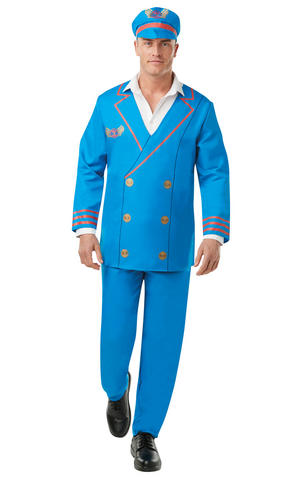 Mens Adult Pilot Fancy Dress Costume Outfit Rubies Airline Captain