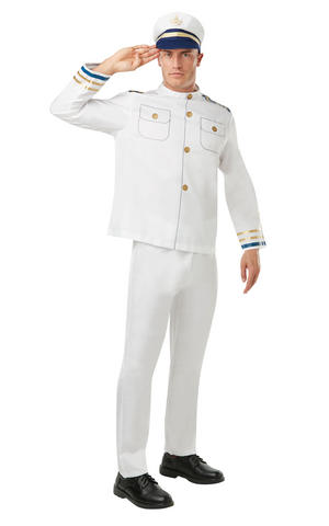 Mens Adult Navy Officer Fancy Dress Costume Outfit Natutical Sailor Captain