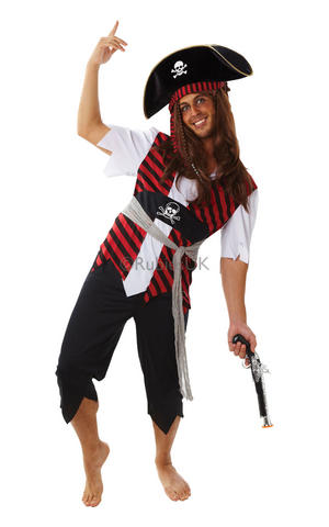 Mens Adult Pirate Fancy Dress Costume Outfit Rubies Buccaneer Caribbean