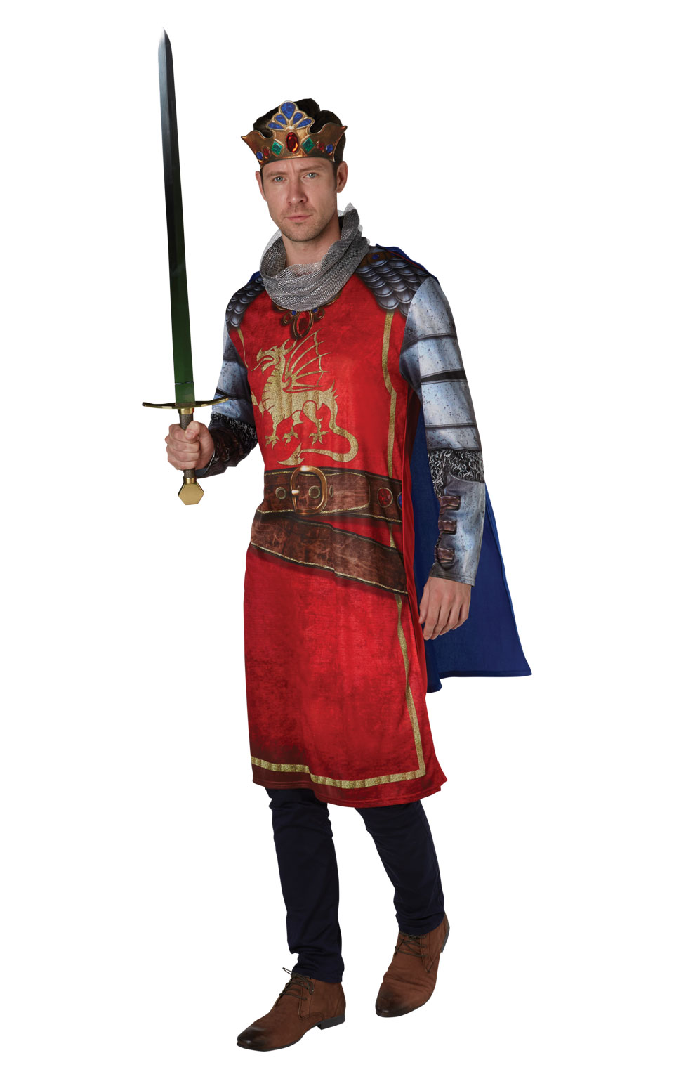 Mens Adult King Arthur Fancy Dress Costume Outfit Medieval Knight St George