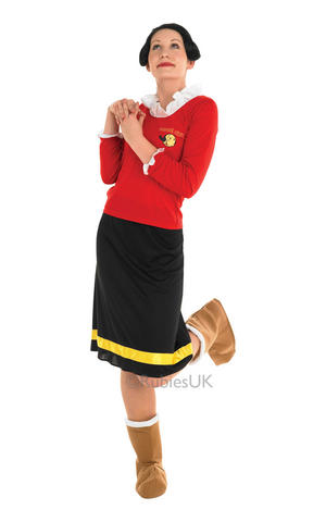 Womens Ladies Adults Olive Oyl Fancy Dress Costume Outfit Cartoon 80s TV