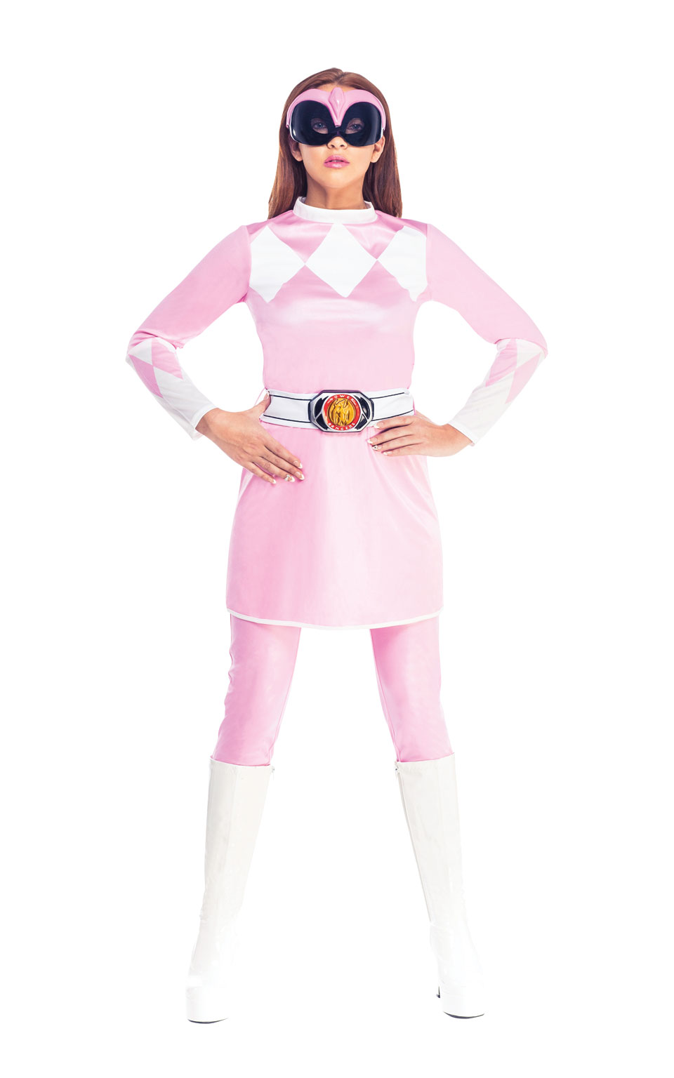 Womens Ladies Pink Mighty Morphin Power Ranger Fancy Dress Costume Outfit Rubies