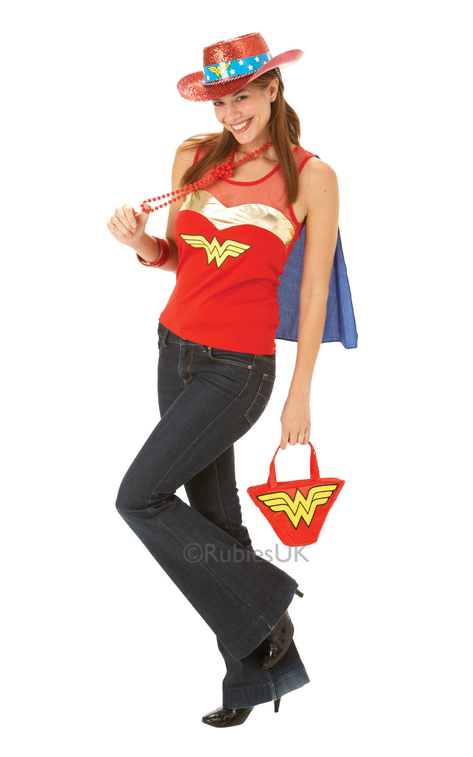 Womens Ladies Wonderwoman Top With Cape Fancy Dress Costume Outfit Superhero