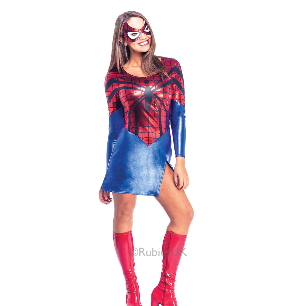 Womens Ladies Sexy Miss Spiderman Fancy Dress Costume Outfit Comic Superhero