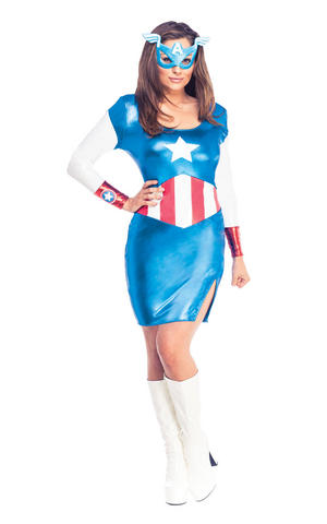 Womens Ladies Miss American Dream Fancy Dress Costume Outfit Marvel Usa Official