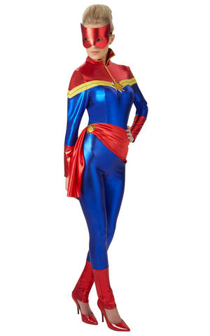 Womens Ladies Captain Marvel Fancy Dress Costume Outfit Rubies Official
