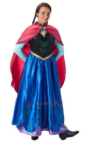 Womens Ladies Anna Fancy Dress Costume Outfit Official Frozen Disney Princess