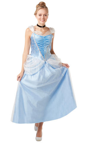 Womens Ladies Blue Princess Cinderella Fancy Dress Costume Outfit Disney