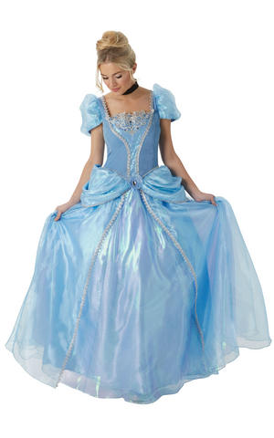 Womens Ladies Deluxe Cinderella Fancy Dress Costume Outfit Disney Princess