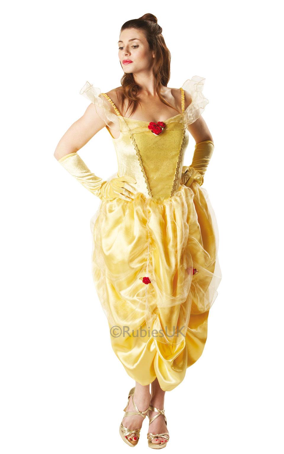 Womens Ladies Princess Belle Fancy Dress Costume Disney Beauty & Beast Outfit