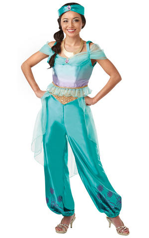 Womens Ladies Jasmine Fancy Dress Costume Outfit Rubies aladdin princess