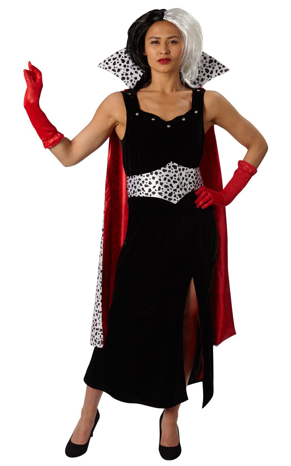 Womens Ladies Deluxe Cruella Deville Fancy Dress Costume Outfit Rubies Halloween