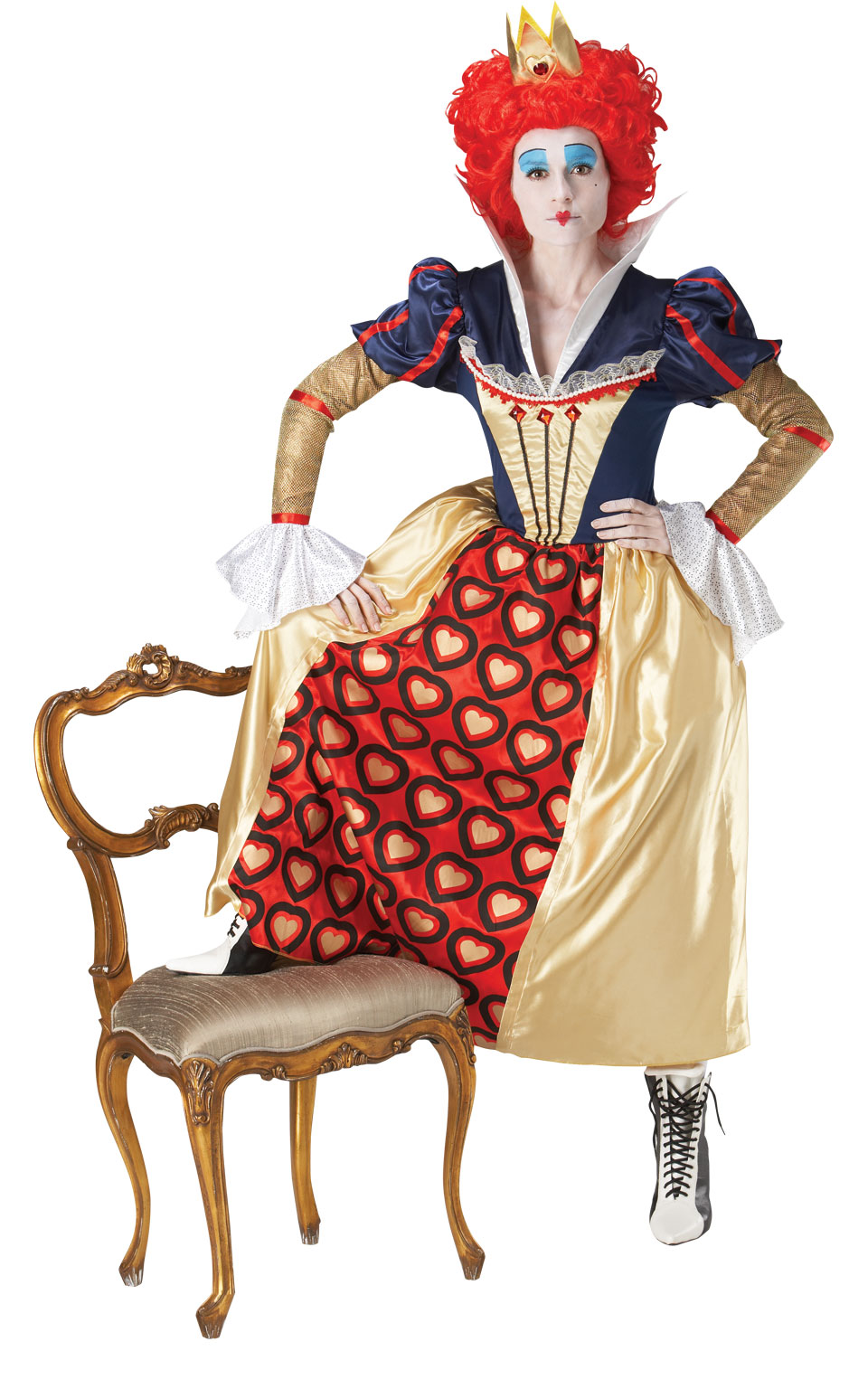 Womens Ladies Red Queen Of Hearts Fancy Dress Costume Outfit Alice In Wonderland