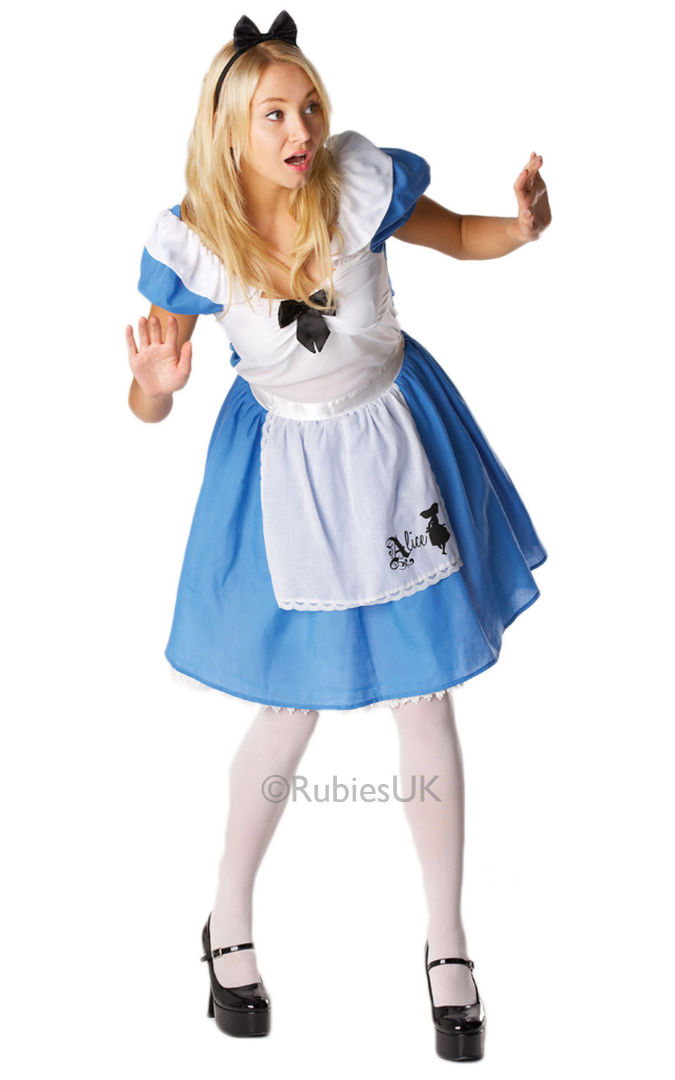 Womens Ladies Alice In Wonderland Fancy Dress Costume Outfit Rubies Book Week