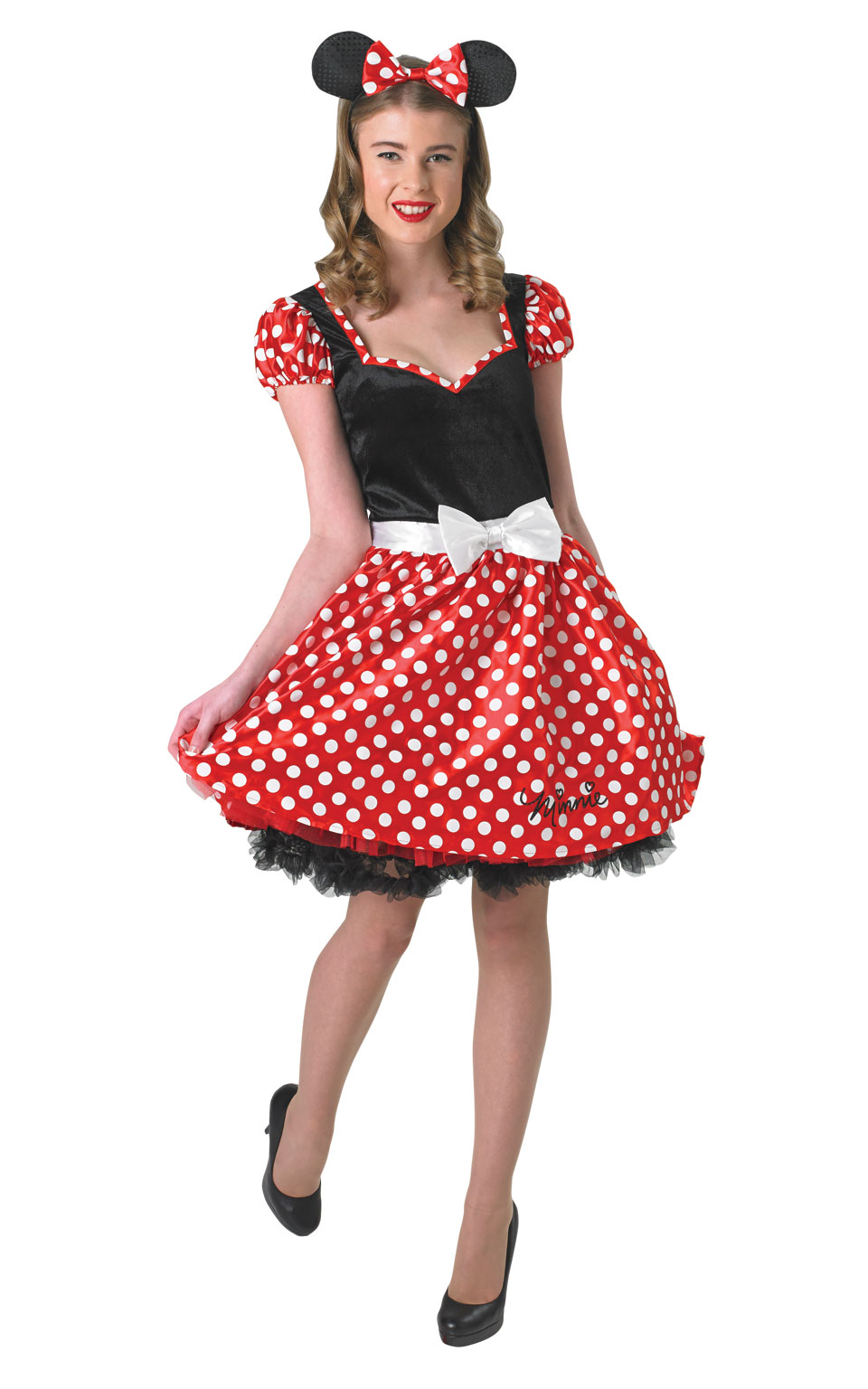 Womens Ladies Red Sassy Minnie Mouse Fancy Dress Costume Outfit Rubies Disney