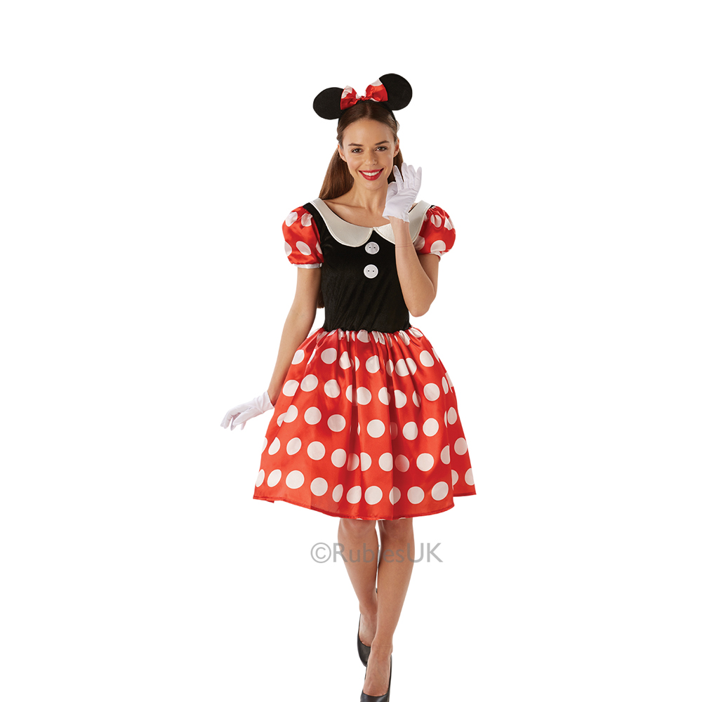 Womens Ladies Red Minnie Mouse Fancy Dress Costume Outfit Rubies Disney