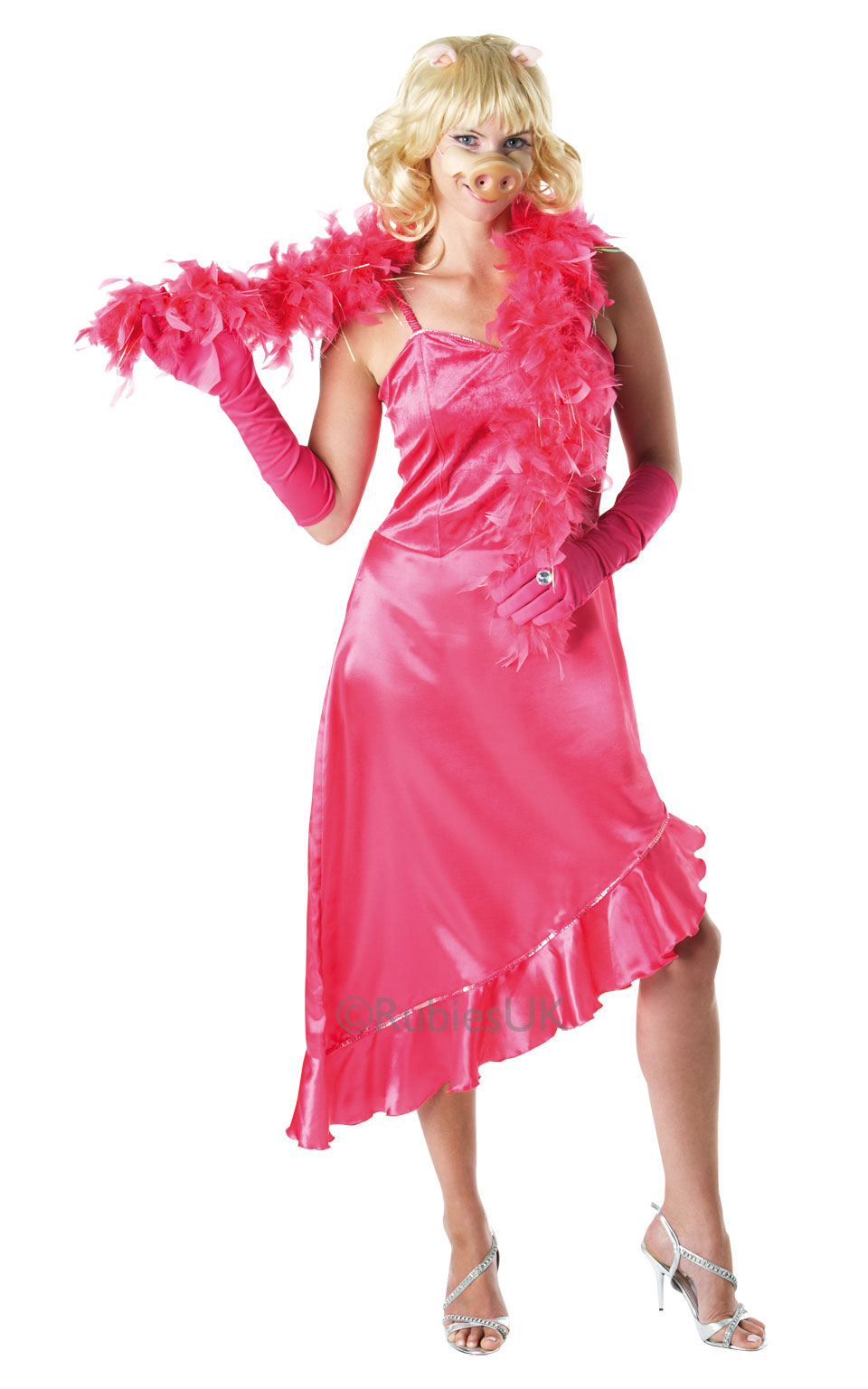 Womens Ladies Miss Piggy Fancy Dress Costume Outfit Rubies The Muppets Pig Tv