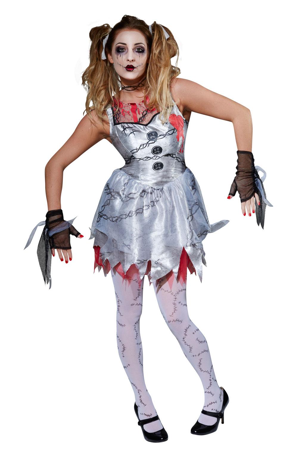Womens Ladies Dead Rag Doll Ladies Fancy Dress Costume Outfit Halloween Zombie
