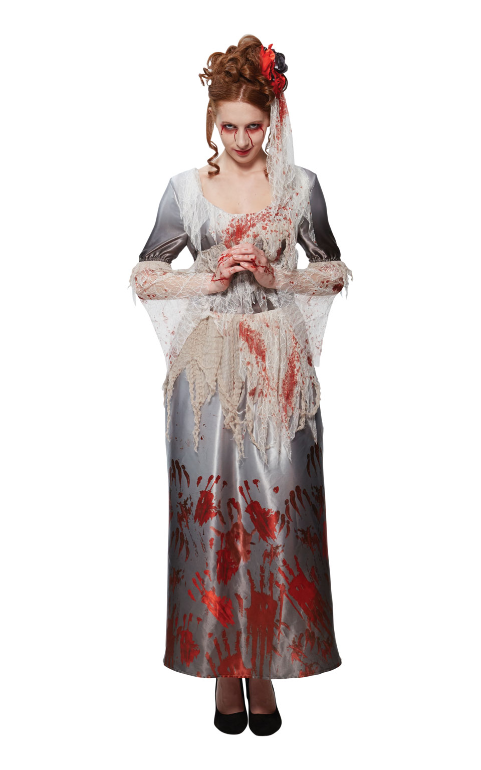 Womens Ladies Bloody Corpse Bride Zombie Fancy Dress Costume Outfit Halloween