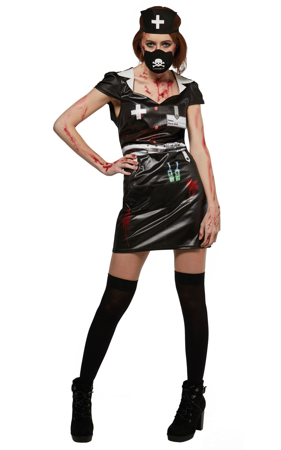 Womens Bloody Zombie Nurse Adult Ladies Halloween Fancy Dress Costume Outfit