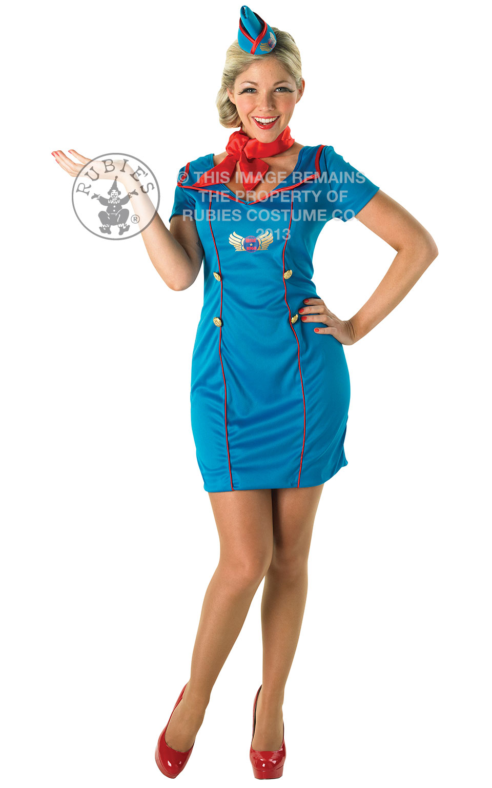 Womens Ladies Adult Air Hostess Fancy Dress Costume Outfit Areoplane Cabin Crew
