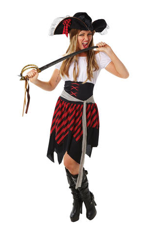 Womens Ladies Adult Pirate Lady Fancy Dress Costume Outfit Buccaneer Caribbean