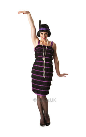 Womens Ladies Adult Flapper Girl Fancy Dress Costume Outfit 1920S Charleston