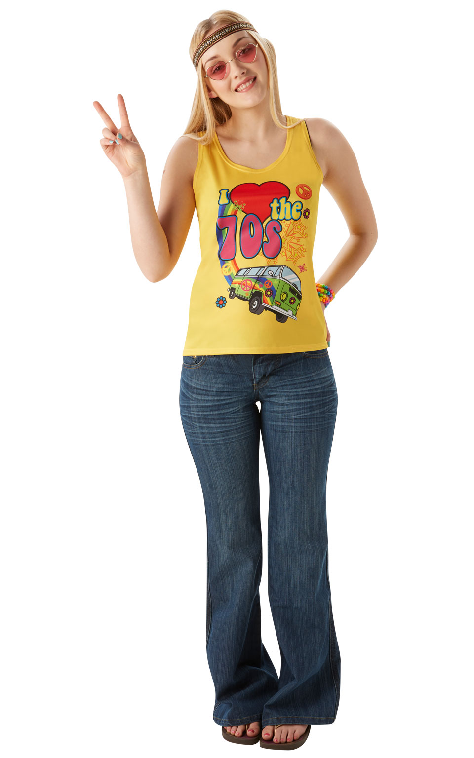 Womens Ladies I Love The 70S Vest Top Fancy Dress Costume Outfit Hippy Hippie