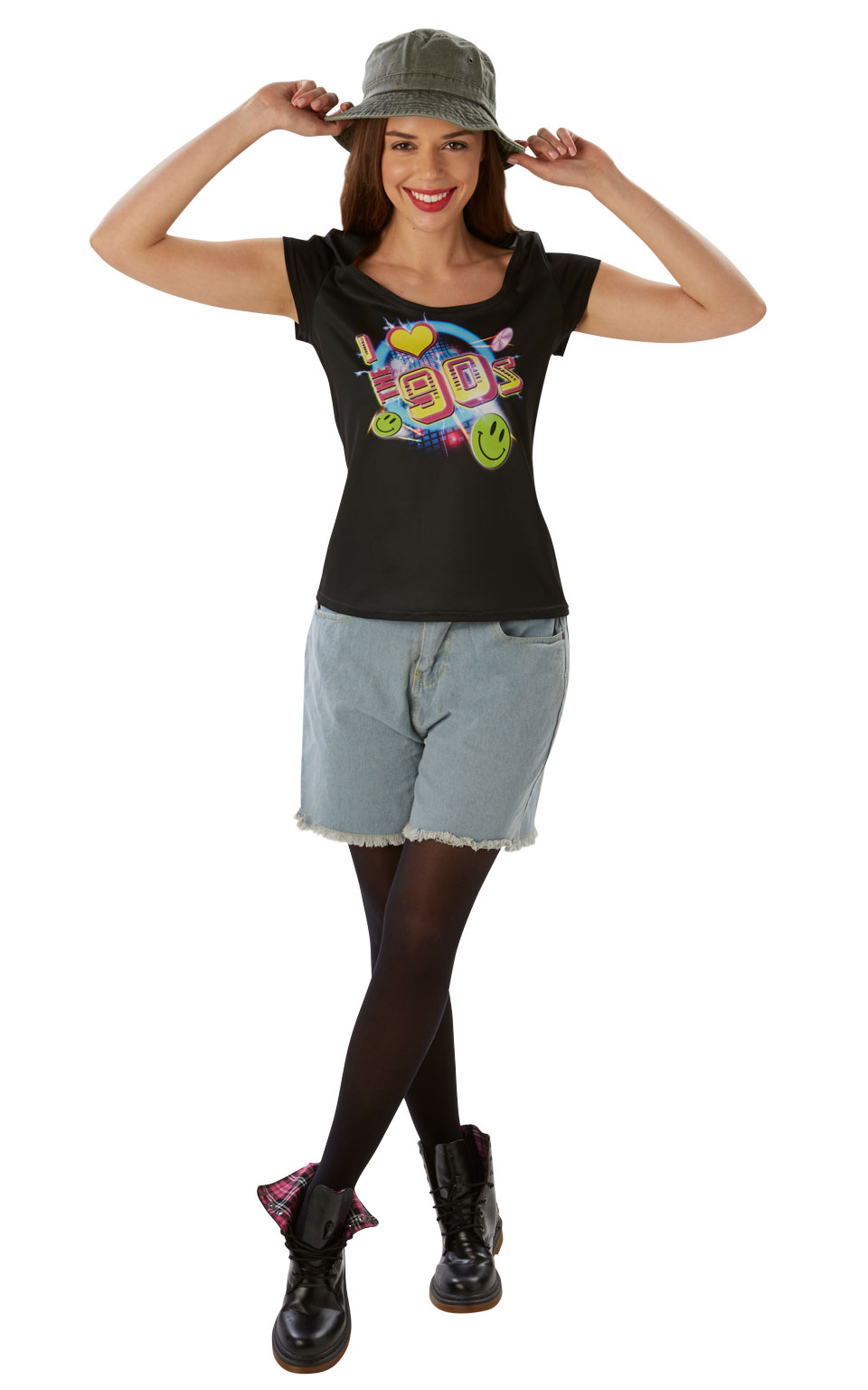 Womens Ladies I Love The 90S T-Shirt Fancy Dress Costume Outfit Nu Rave Festival