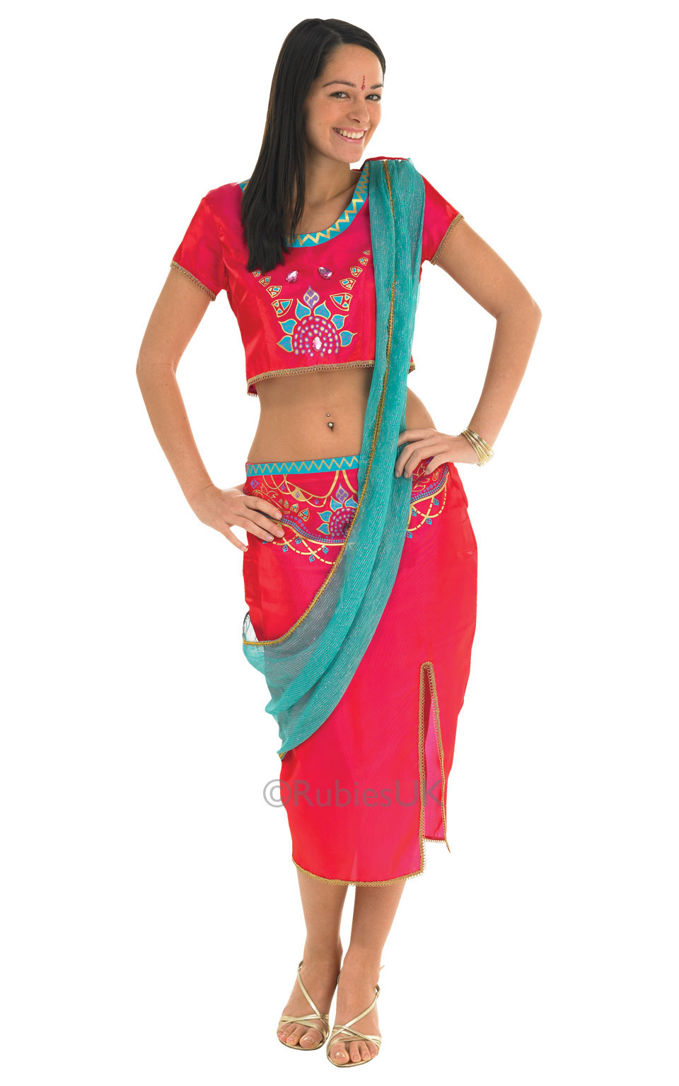 Womens Ladies Bollywood Starlet Fancy Dress Costume Outfit Rubies Sari Indian