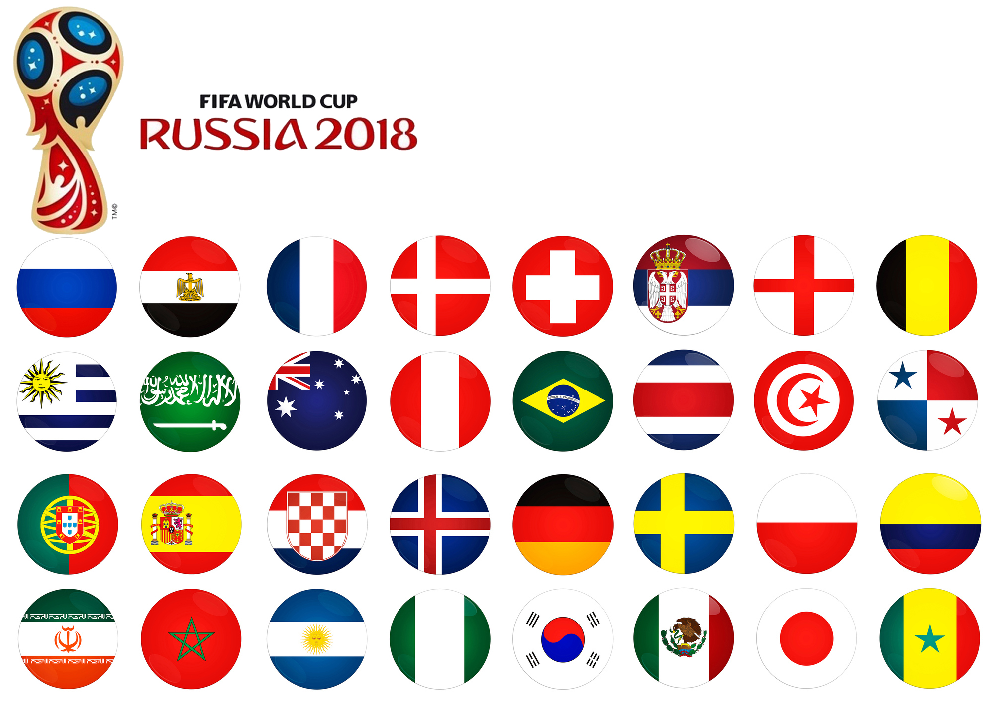 Russia World Cup 2018 Football Flag Country Button Badge ...