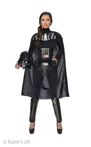 Female Darth Vader Fancy Dress Costume Outfit Adult Womens Ladies UK 6-18