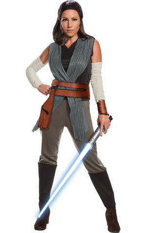 Deluxe Rey Last Jedi Fancy Dress Costume Cosplay Outfit Womens Ladies UK 8-18