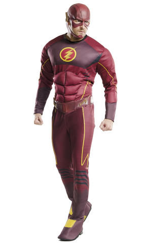 Deluxe The Flash Fancy Dress Costume Cosplay Outfit Adult Mens Male Std Or XL
