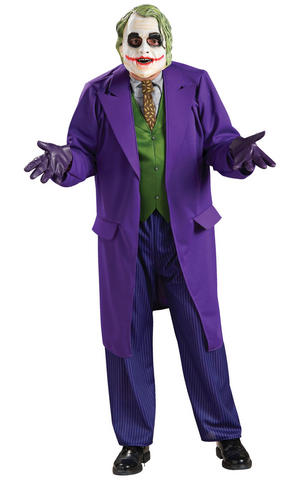 Deluxe Joker Fancy Dress Costume Outfit Dark Knight Cosplay Mens Male Std Or XL