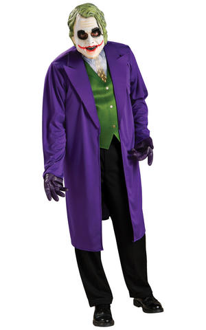 Batman Joker Fancy Dress Costume Cosplay Halloween Outfit Mens Male Std Or XL