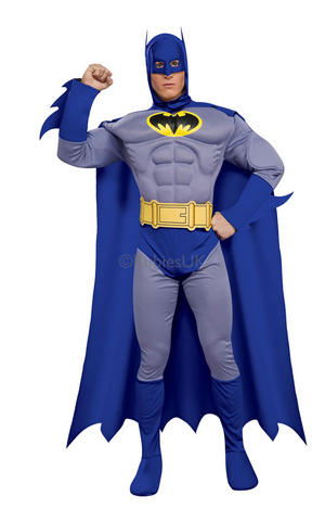 Deluxe Muscle Chest Batman Cosplay Fancy Dress Costume Outfit Mens Male S To L