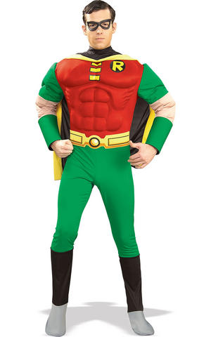 Deluxe Muscle Chest Robin Fancy Dress Costume Outfit Cosplay Mens Male S To L