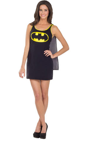 Black Batgirl Dress & Cape Cosplay Fancy Dress Outfit Womens Ladies UK 8-14