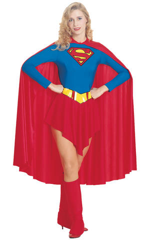 DC Adult Supergirl Fancy Dress Costume Outfit Adult Womens Ladies UK 8-18