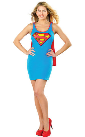 Cosplay Dress & Cape Supergirl Fancy Dress Costume Outfit Womens Ladies UK 8-14