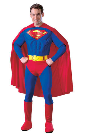 Deluxe Muscle Chest Cosplay Superman Fancy Dress Costume Outfit Mens Male S To L