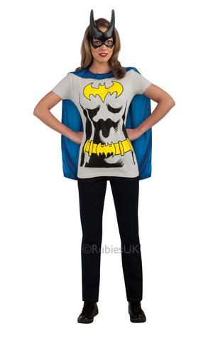 Batgirl T-Shirt Top Fancy Dress Costume Outfit Adult Womens Ladies UK 8-22