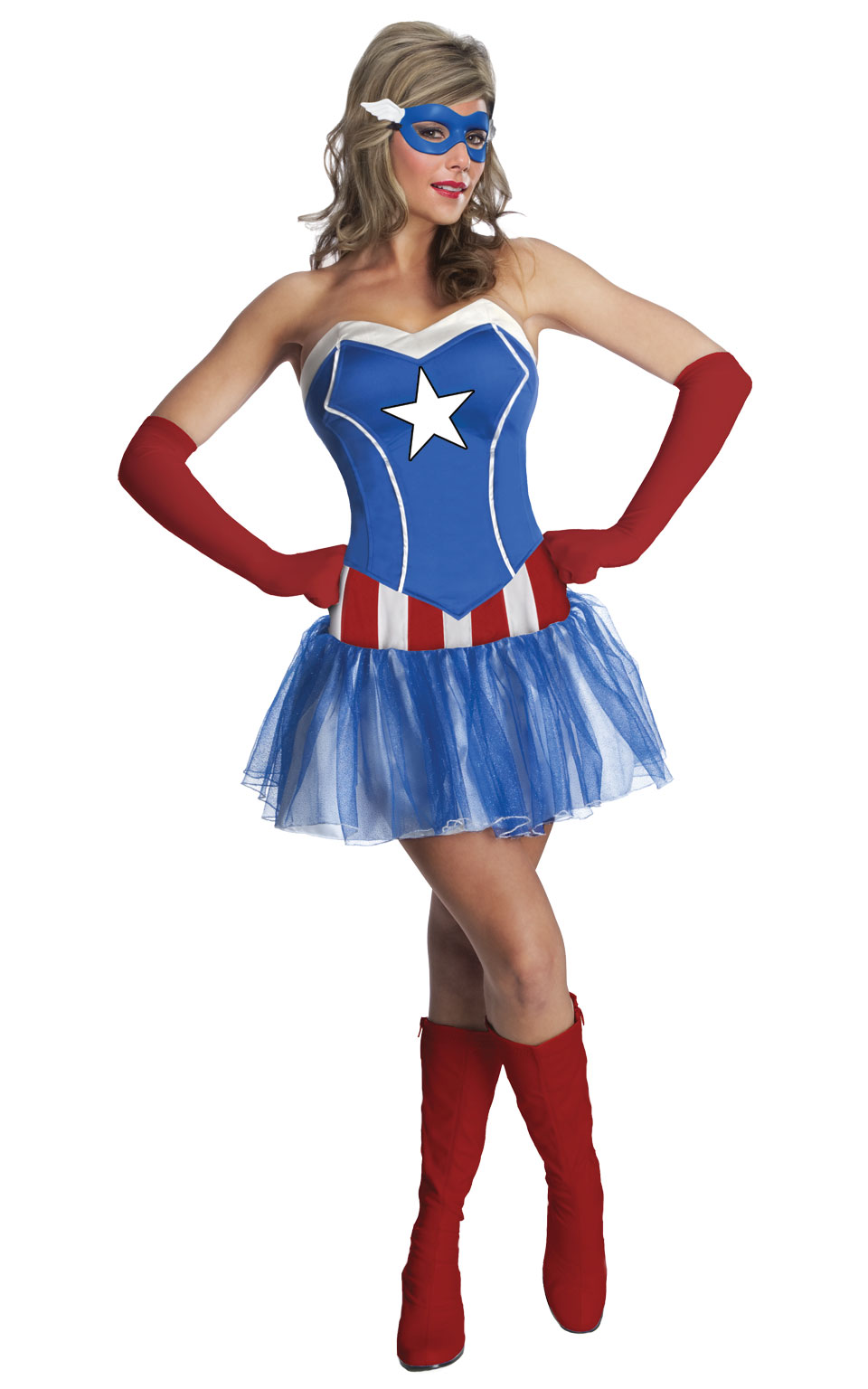 American Lady Fancy Dress Costume Outfit Captain America Womens Ladies UK 6-18