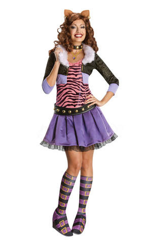 Deluxe Clawdeen Wolf Fancy Dress Costume Outfit Adult Womens Ladies UK 6-18