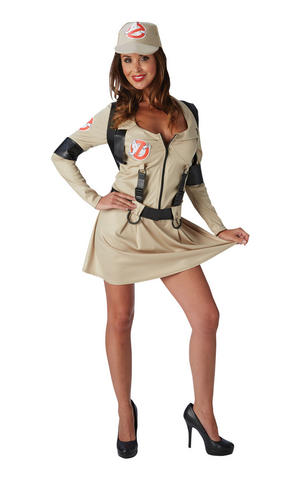 Female Ghostbuster Skirt Fancy Dress Costume Outfit Adult Womens Ladies UK 6-18