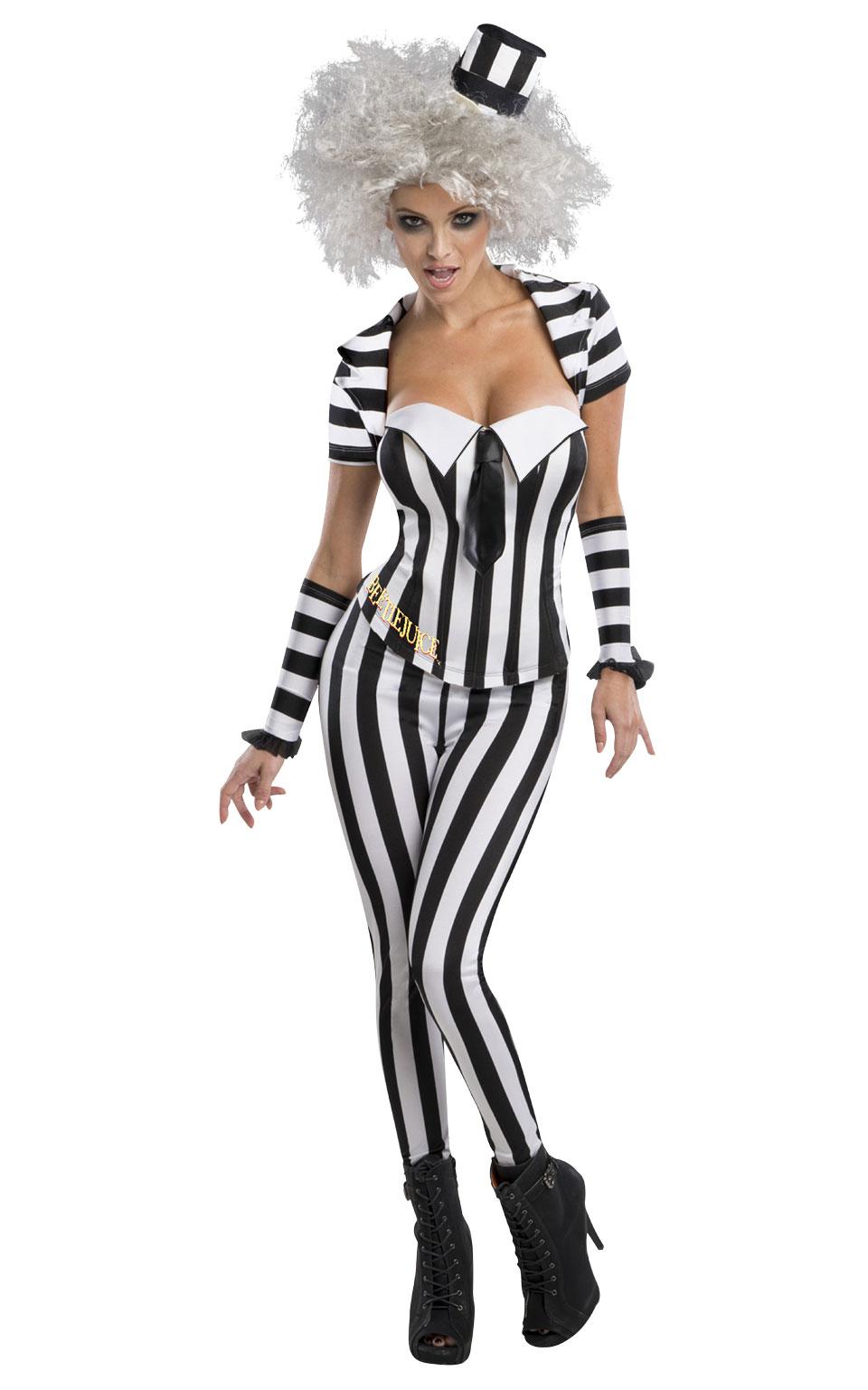 Beetlejuice Corset Halloween Fancy Dress Costume Outfit Womens Ladies UK 6-18