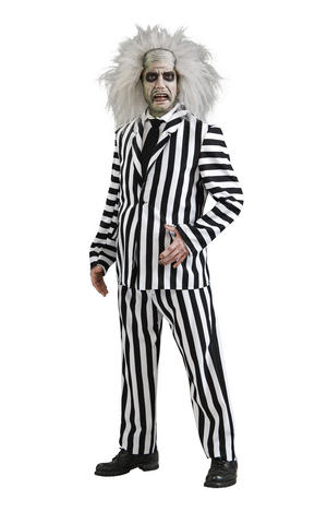 Deluxe Beetlejuice Fancy Dress Costume Outfit Halloween Mens Male Std Or XL